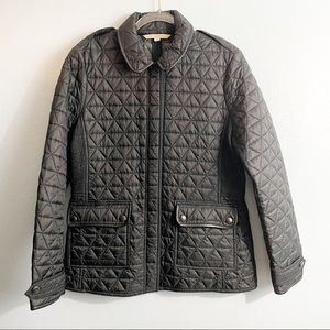 Burberry Brit Laycroft Leather Trim Quilted Jacket